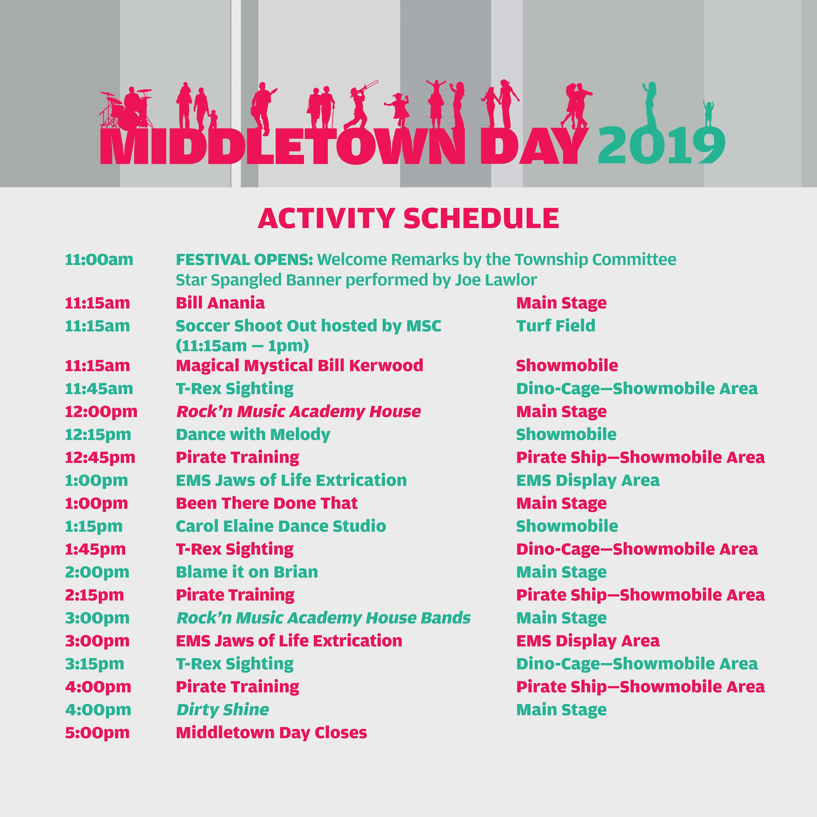 Middletown Day 2019 Activity Schedule