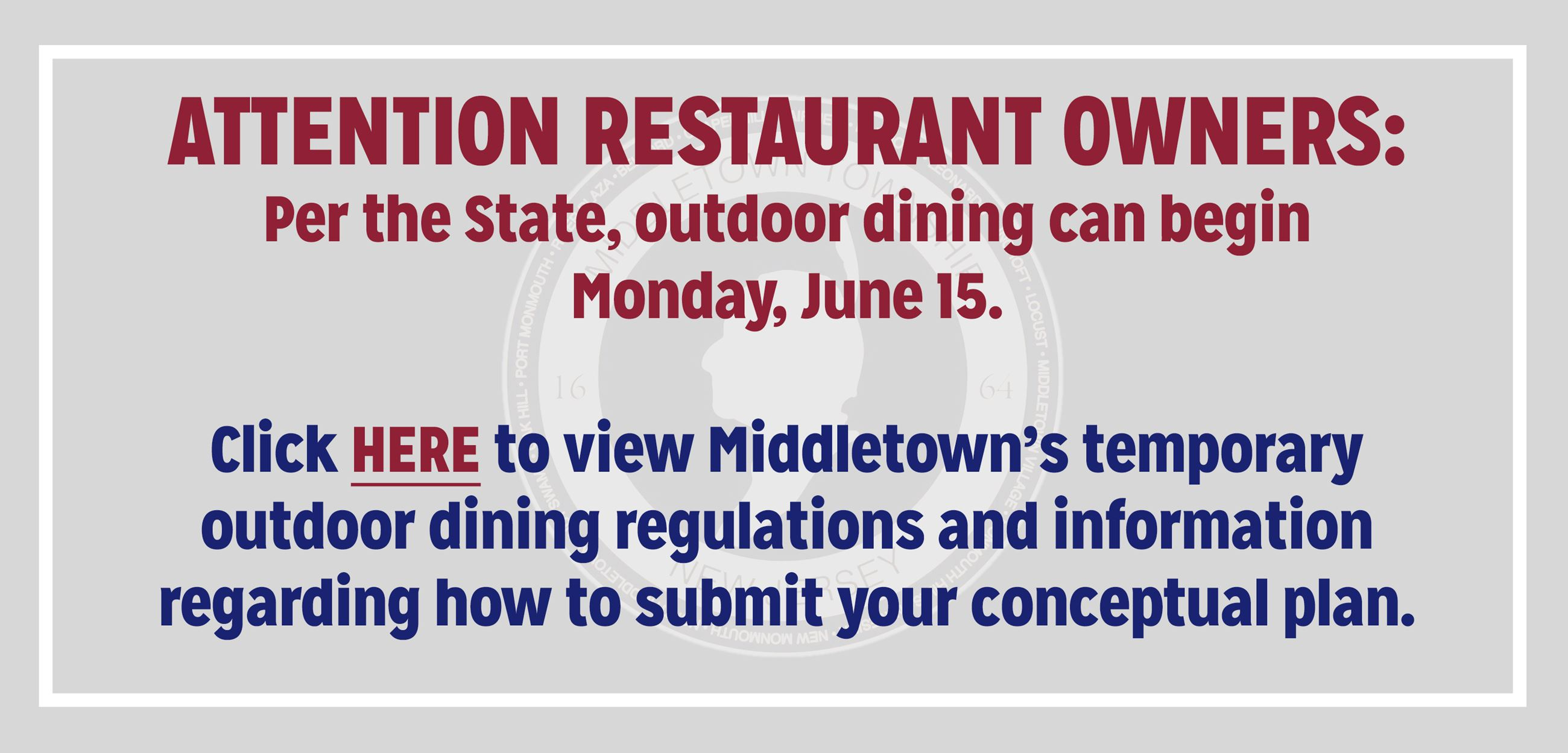 Temporary Outdoor Dining Regulations