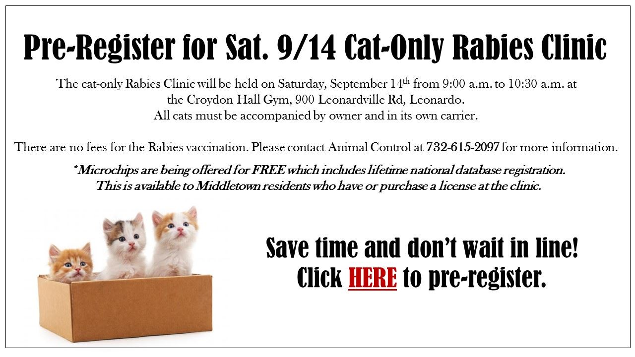 Cat Only Rabies Clinic September 2019